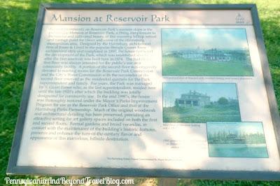 Mansion at Reservoir Park in Harrisburg Pennsylvania - Historical Marker