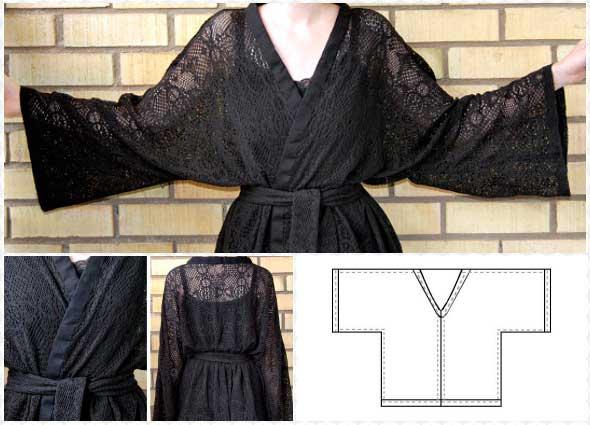 kimono, kimonos, encaje, costura, labores, patronaje, patrón