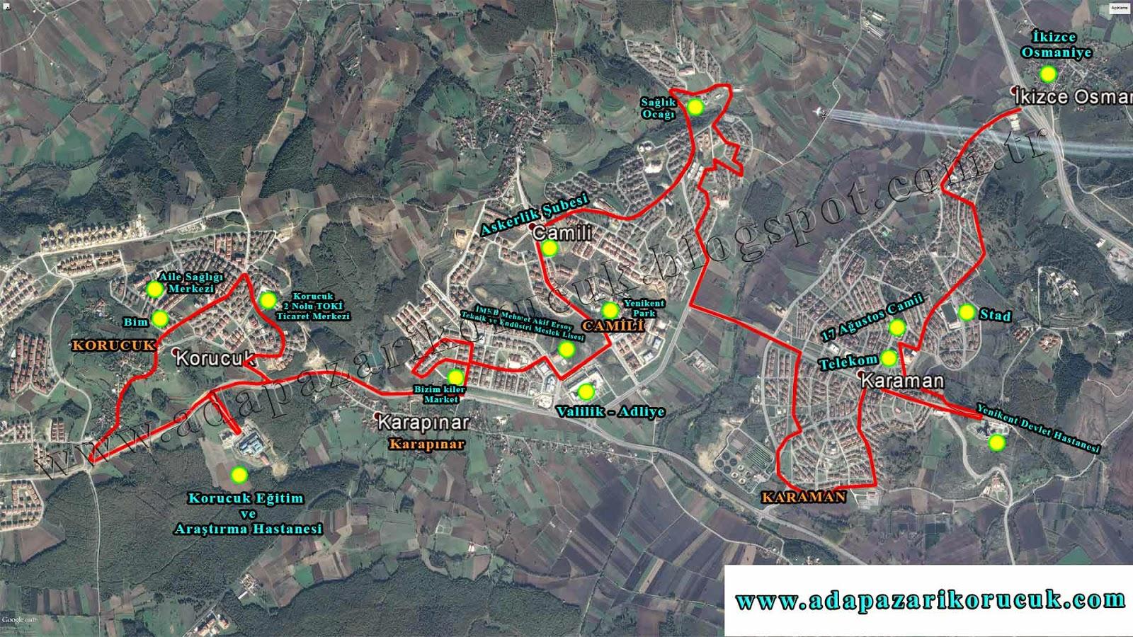 Karaman - Camili - Korucuk Minibüsleri Güzergâh Haritası Kroki
