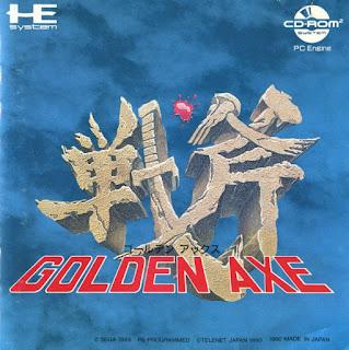 Portada del CD-rom de Golden Axe para PC Engine/TurboGrafx CD, SEGA, 1990