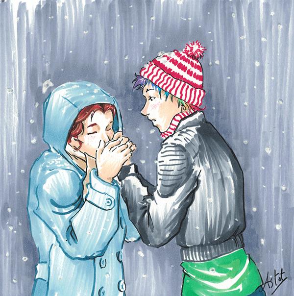 Dina et Margot sous la neige