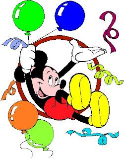 Mickey saltando con globos