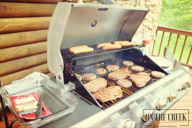Grilling hot dogs, steak and hamburgers