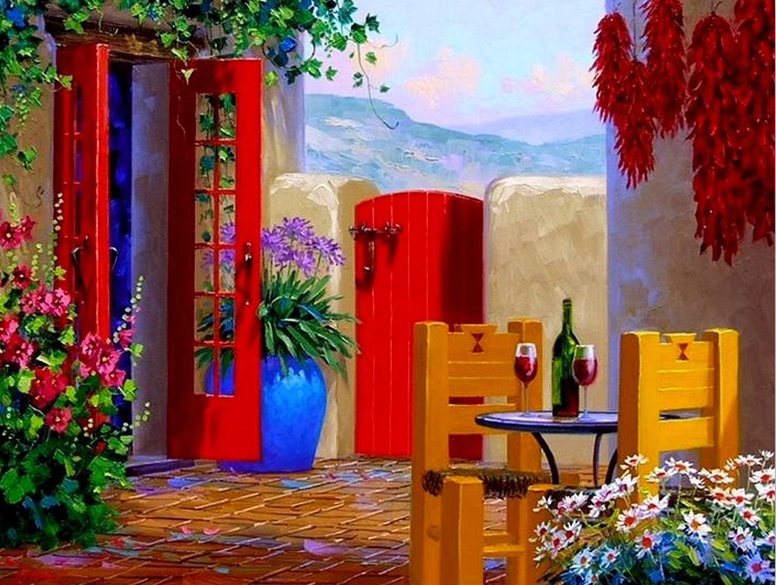 Cuadros modernos pinturas y dibujos pintura de flores al for Pinturas bonitas para casas