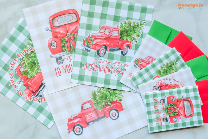 Red Christmas Truck Printables and Cards