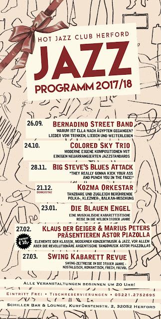 Maja Bernard, Colored Sky Trio, Big Steve's Blues Attack, Kozma Orkestar, Die Blauen Engel, Klaus der Geiger & Marius Peters, Swing Kabarett Revue