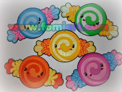 Caramelos decorados en foami