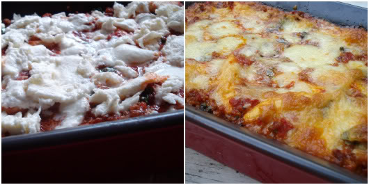 top with mozzarella and bake