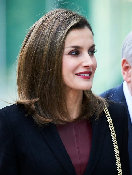 Queen Letizia wore Hugo Boss Jesila Fashion show blazer, Boss Leather Sheath Dress, Lodi Sara Rodas Shoes