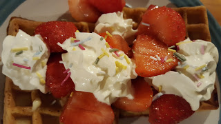 Waffles wtih Strawberries and Cream