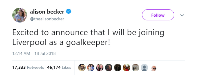 Someone called Alison Becker tweets about joining Liverpool