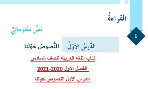 كتاب اللغة العربية للصف السادس الفصل الاول 2020-2021 الدرس الاول النصوص حولنا