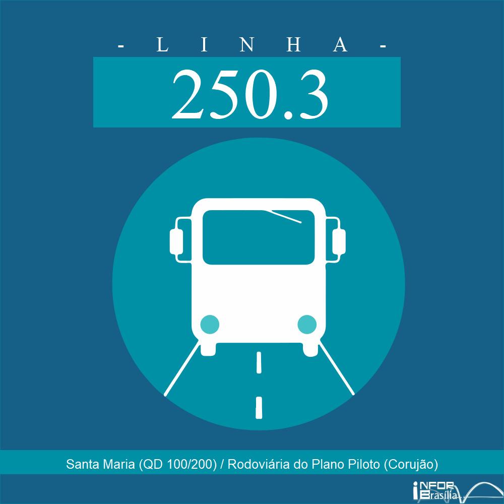Horário de ônibus e itinerário 250.3 - Santa Maria (QD 100/200) / Rodoviária do Plano Piloto (Corujão)