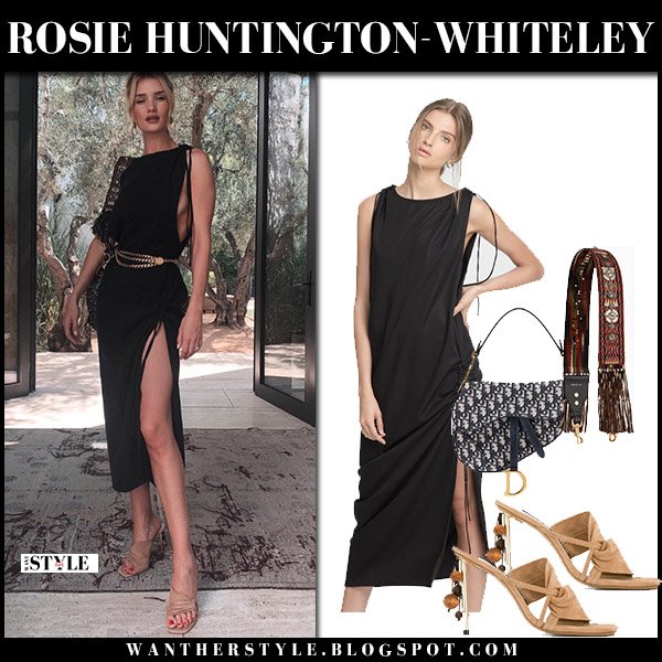 Rosie Huntington-Whiteley in black slit dress and beige sandals jacquemus model style august 1