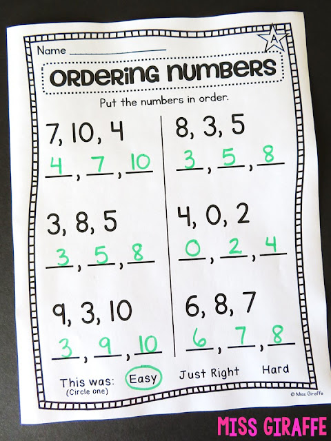 Ordering numbers to 10 worksheet and so many other great number order activities and worksheets - this explains exactly how to teach the concept and how to differentiate for first grade math!
