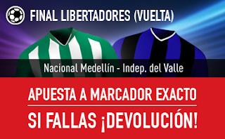 sportium bono 25 euros devolucion Nacional de Medellín vs Indep. del Valle copa libertadores 28 julio