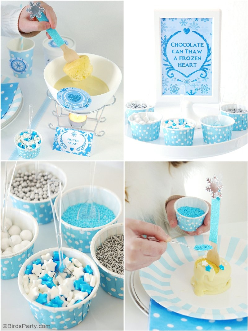 A Frozen Inspired Cupcake Fondue & Free Printables Olaf inspired labels - lots of creative DIY ideas for a girl's birthday party or fun winter play date! | BirdsParty.com