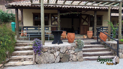 Escada de pedra com pedras rústicas com as muretas com pedras rústicas em frente a cabana rústica com os pilares de madeira, paredes pintadas com terra e na frente o pergolado de madeira com eucalipto tratado.