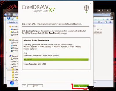 cara instal corel draw x7