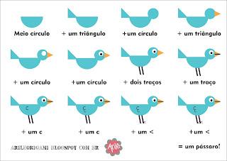 Resultado de imagem para como fazer pássaro com formas geométricas