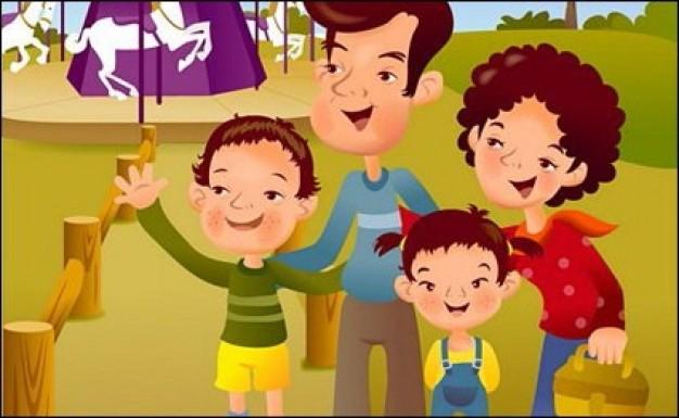 Dibujos Animados De Niños Felices Y Payaso En El Parque: Dibujo De Una Familia De 4 Personas