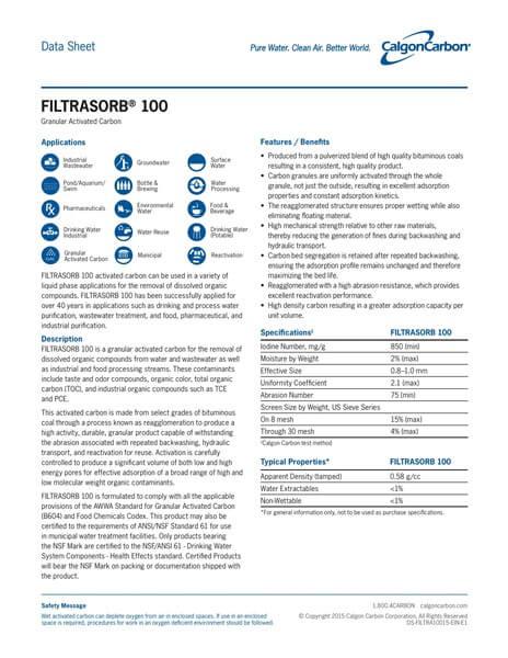 Product Data Sheet (PDS) Karbon Aktif Calgon FiltraSorb 100