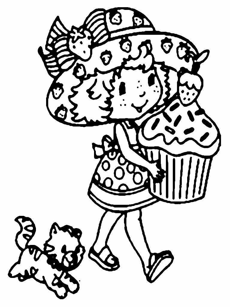 Strawberry Cakes Printable Valentine Cartoon Kids Coloring Pages