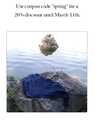 "All shawl patterns are 20""% discounted until March 11th, 2018."