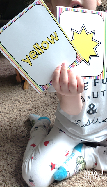 Learning colors memory game yellow cards