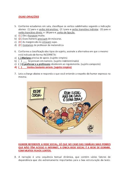 AVALIAÇÃO DE PORTUGUÊS 8 ANO COM GABARITO