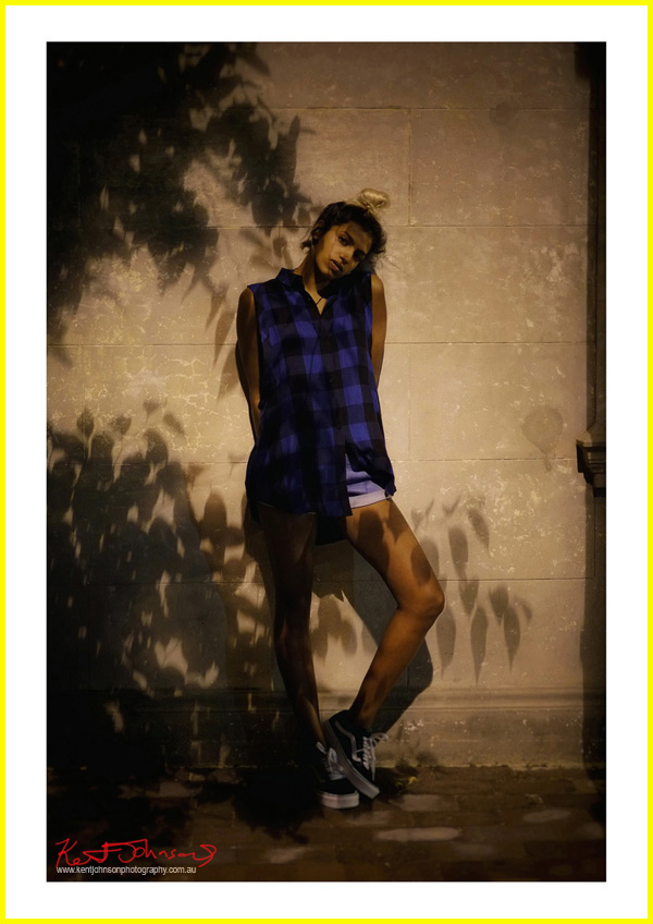 Vishmi wears Abrand Jeans Sleeveless Check Shirt  ROLLA'S Dusters Short in Astral blue, Vans Old Skool Sneakers; photographed for Street Fashion Sydney by Kent Johnson.
