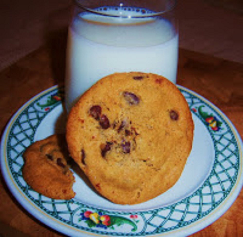 Chocolate chip cookies with chunks of chocolate warm and bakery style