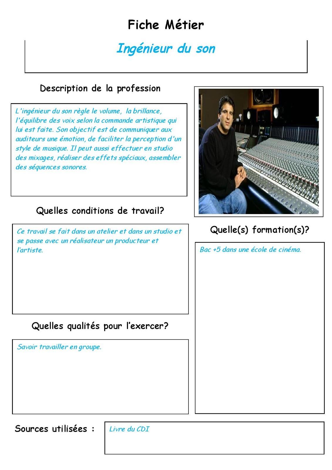 Classe Media Fiche Metier Ingenieur Du Son