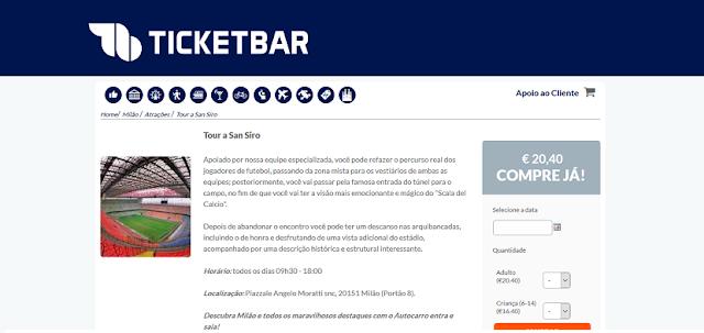 Ticketbar para ingressos para o tour a San Siro em Milão