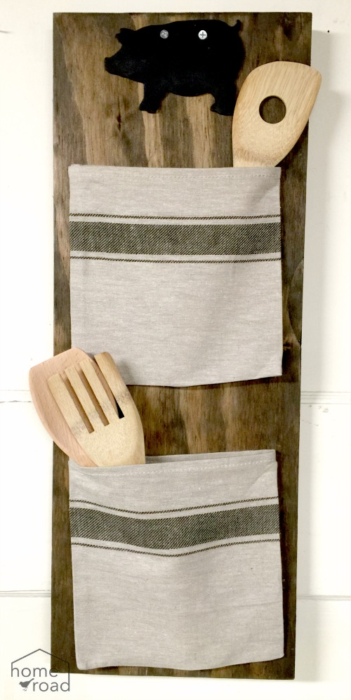 Grain Sack Bag Organizer with wooden spoons