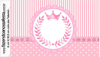 Pink Crown Free Printable Candy Bar Labels.