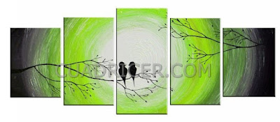 http://www.cuadricer.com/cuadros-pintados-a-mano-por-colores/cuadros-verdes-pistacho-manzana/cuadros-pareja-pajaros-fondo-circular-verde-luminoso-rama-arbol-atardecer-amor-love-2152-radiante.html