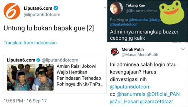 """Heboh! Skandal Cuitan Akun Liputan 6 """"Untung Lu Bukan Bapak Gue"""", Netizen: Admin Merangkap Cebong?"""