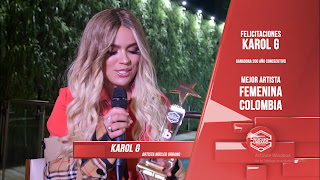 Karol G recibe Premio Núcleo Urbano - Mejor Artista Femenina de colombia.