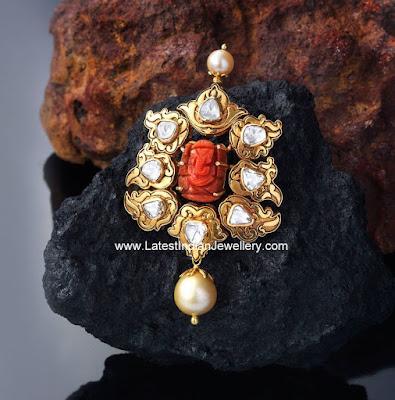 polki diamond ganesh pendant