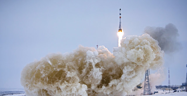 Soyuz 2.1a rocket launches with Progress MS-08 on February 13. Credit: ROSCOSMOS/Space Center Yuzhny