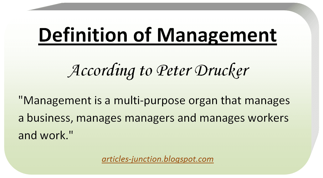 Definition of Management by Peter Drucker
