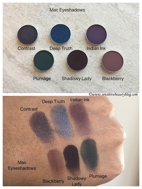 MAC Eyeshadow Contrast, Deep Truth, Indian Ink, Blackberry, Shadowy Lady, Plumage