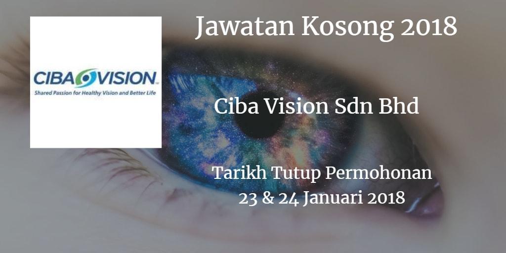 Jawatan Kosong CIBA VISION Johor Sdn Bhd 23 & 24 Januari 2018