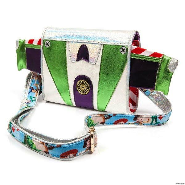 metallic bag from back with Toy Story printed strap attached to sides
