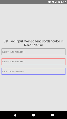 Setting Border Color of TextInput Component In React Native