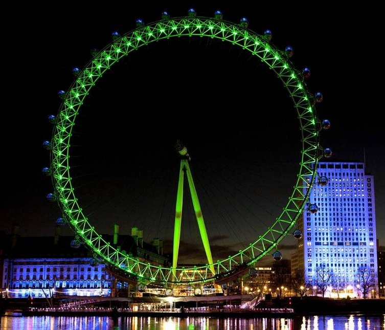 St Patricks Day London and the green London Eye