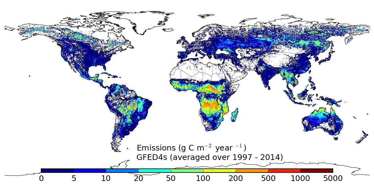 Global Fire Data: Carbon emissions from fires - Source: http://www.globalfiredata.org/_plots/map_emissions.png