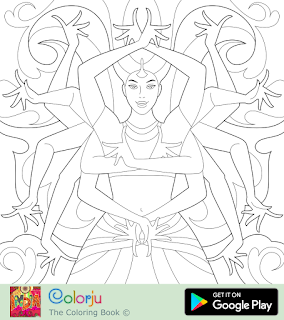 Free Indian  bollywood actress multiple hands dancing coloring pages