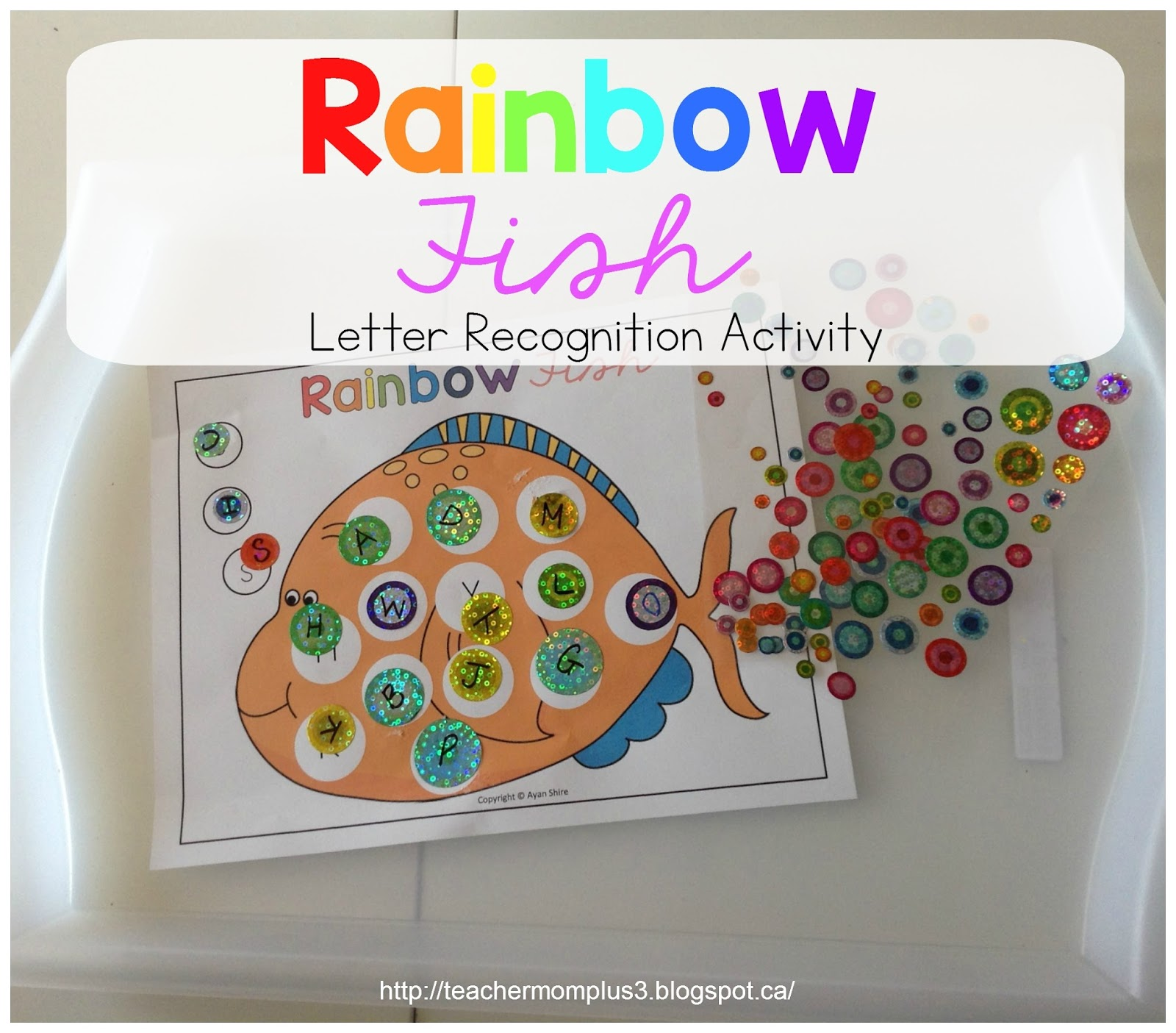 Teachermomplus3 Rainbow Fish Letter Recogniton Activity